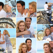 Various shots of couple with bikes by sea — Stock Photo #17621367