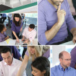 Montage of architects hard at work — Stock Photo