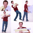 Collage of a man carrying wallpaper rolls — Stock Photo