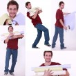 Collage of a man carrying wallpaper rolls - Stock Photo