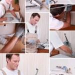 Montage of plumber repairing bathroom sink — Stock Photo #17621491