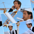 Stock Photo: Collage of engineer working on-site
