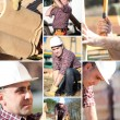 A collage of a construction worker — Stock Photo