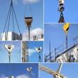 Montage of construction cranes — Foto Stock
