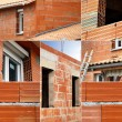 Montage of incomplete house build - Stockfoto