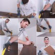 Stock Photo: Mosaic of man laying laminate flooring