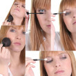 Stock Photo: Womapplying makeup