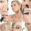Stock Photo: Collage of womapplying makeup
