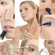 Collage of womapplying makeup — Stock Photo #17621663