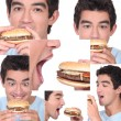 Young man eating a burger — Stock Photo