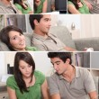 Stock Photo: Montage of couple relaxing in their front room