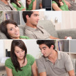 Montage of couple relaxing in their front room - Stock Photo