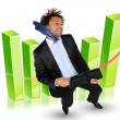 Stock Photo: Excited businessmstood by graph