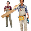 Two carpenters working together - 