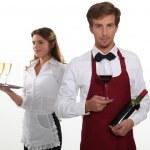 Professional waiter and waitress — Stock Photo