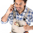 Carpenter receiving good news over the phone — Stock Photo