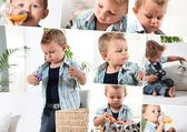 Montage of little boy playing at home — Stock Photo