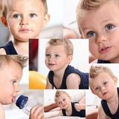 Various sots of a blonde baby boy — Stock Photo