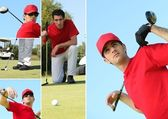 Collage of a man playing golf — ストック写真