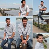 Collage of a man on a quay — Stock Photo