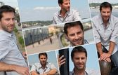 Montage of a man on a promenade — Stock Photo