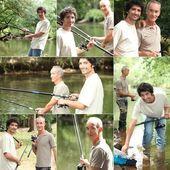 Vader en zoon verlijmen tijdens visreis — Stockfoto
