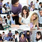 Montage of architects in meeting — Stock Photo