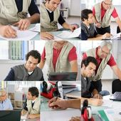 Senior and young architect working as team — Stock Photo