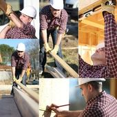 Montage of builder working on wooden house frame — Stock Photo