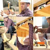 Montage of carpenter working on wooden house — Stock Photo