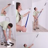 Montage of decorator using long roller — Stock Photo
