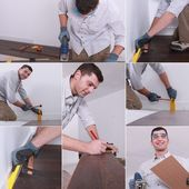 Mosaic of man laying laminate flooring — Stock Photo