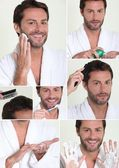 Collage of man shaving — Stock Photo