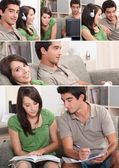 Montage of couple relaxing in their front room — Stock Photo