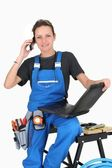 Repair woman ready to take the job ! — Stock Photo