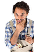 Craftsman holding his chin — Stock Photo