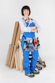 Female woodworker with tools — Stock Photo