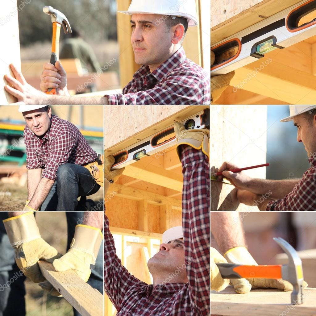 Montaje de carpintero trabajando en casa de madera foto - Montaje casa de madera ...