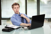 Office worker getting tired — Stock Photo