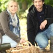 Couple gathering chestnuts — Stock Photo #18431799