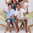 Teenagers on a summer party — Stock Photo