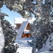 Snowy cabin — Stock Photo
