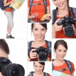 Montage of a hiker with a DSLR camera - Stock Photo