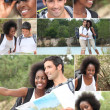 Montage of a hiking couple - Photo