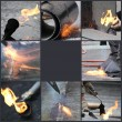 Tar covered strips being heated by a flame torch - Stock Photo