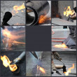 Stock Photo: Tar covered strips being heated by flame torch