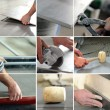 Montage of handyman laying a tiled floor — 图库照片