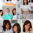 Mosaic of hospital staff working together — Stock Photo