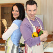 Couple cooking together — Stock Photo