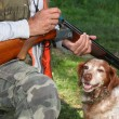 Hunter with dog and shotgun - Stock Photo